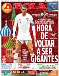 capa Jornal A Bola de 30 junho 2018