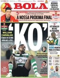 capa Jornal A Bola de 31 março 2018