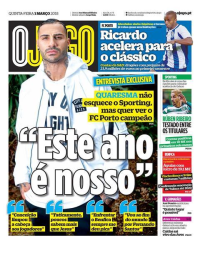 capa Jornal O Jogo de 1 março 2018