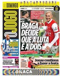 capa Jornal O Jogo de 1 abril 2018