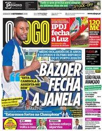 capa Jornal O Jogo de 1 setembro 2018