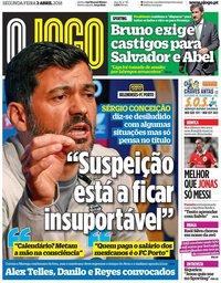 capa Jornal O Jogo de 2 abril 2018