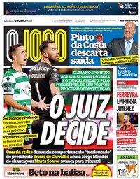 capa Jornal O Jogo de 2 junho 2018