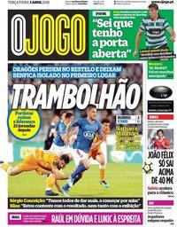 capa Jornal O Jogo de 3 abril 2018