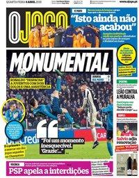capa Jornal O Jogo de 4 abril 2018