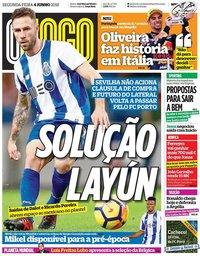 capa Jornal O Jogo de 4 junho 2018