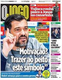 capa Jornal O Jogo de 6 março 2018