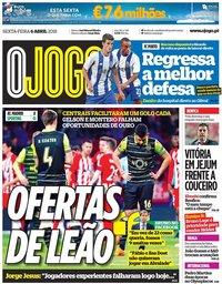 capa Jornal O Jogo de 6 abril 2018