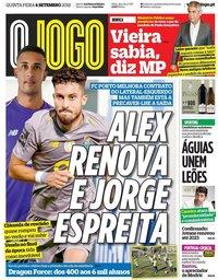 capa Jornal O Jogo de 6 setembro 2018