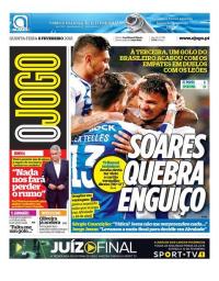 capa Jornal O Jogo de 8 fevereiro 2018