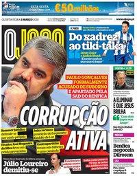 capa Jornal O Jogo de 8 março 2018