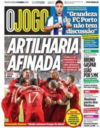 capa Jornal O Jogo de 8 junho 2018