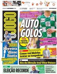 capa Jornal O Jogo de 8 setembro 2018