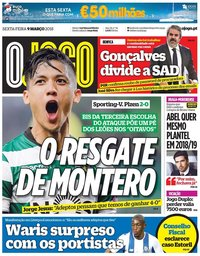 capa Jornal O Jogo de 9 março 2018