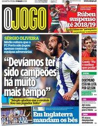 capa Jornal O Jogo de 9 maio 2018
