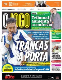 capa Jornal O Jogo de 9 junho 2018