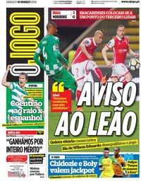 capa Jornal O Jogo de 10 março 2018