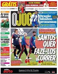 capa Jornal O Jogo de 11 junho 2018