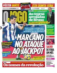 capa Jornal O Jogo de 13 fevereiro 2018