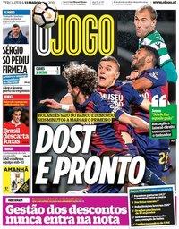 capa Jornal O Jogo de 13 março 2018