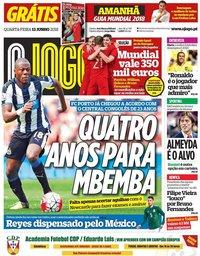 capa Jornal O Jogo de 13 junho 2018