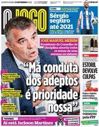 capa Jornal O Jogo de 13 setembro 2018