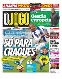 capa Jornal O Jogo de 14 fevereiro 2018