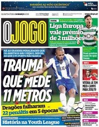 capa Jornal O Jogo de 14 março 2018