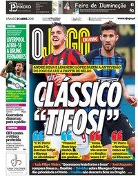 capa Jornal O Jogo de 14 abril 2018