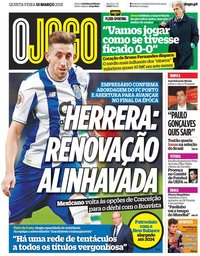 capa Jornal O Jogo de 15 março 2018
