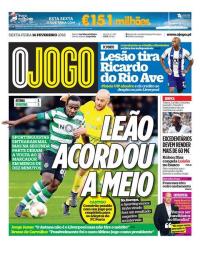 capa Jornal O Jogo de 16 fevereiro 2018
