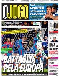 capa Jornal O Jogo de 16 março 2018