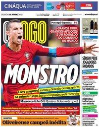 capa Jornal O Jogo de 16 junho 2018