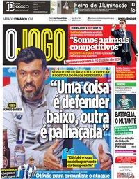 capa Jornal O Jogo de 17 março 2018