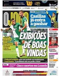 capa Jornal O Jogo de 17 setembro 2018