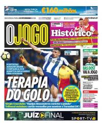 capa Jornal O Jogo de 19 fevereiro 2018