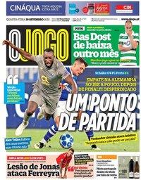 capa Jornal O Jogo de 19 setembro 2018