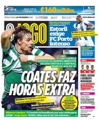 capa Jornal O Jogo de 20 fevereiro 2018