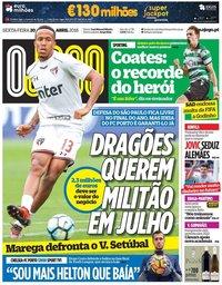 capa Jornal O Jogo de 20 abril 2018