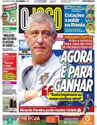 capa Jornal O Jogo de 20 junho 2018