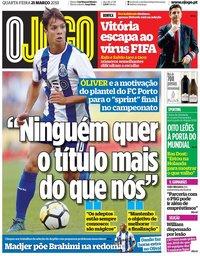 capa Jornal O Jogo de 21 março 2018