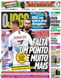 capa Jornal O Jogo de 21 junho 2018
