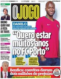 capa Jornal O Jogo de 22 março 2018