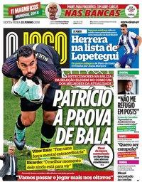 capa Jornal O Jogo de 22 junho 2018