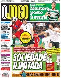 capa Jornal O Jogo de 24 março 2018