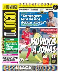 capa Jornal O Jogo de 25 fevereiro 2018