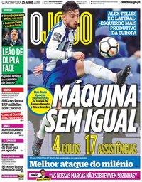 capa Jornal O Jogo de 25 abril 2018