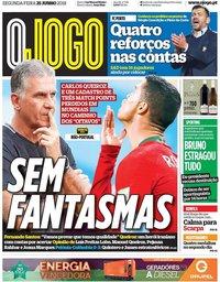 capa Jornal O Jogo de 25 junho 2018