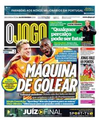 capa Jornal O Jogo de 26 fevereiro 2018