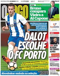 capa Jornal O Jogo de 26 março 2018